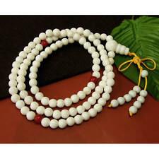 "Large Long Tibetan 108 8mm Tridacna Gemstone Prayer Beads Mala Necklace -32"""