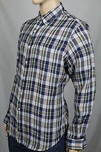 Ralph Lauren X-Large XL Navy Green Custom Plaid Dress Linen Shirt NWT $145