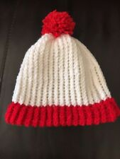 Hand made Red & White  Adult Beanie Hat Wheres Waldo costume red stripe cap USA!