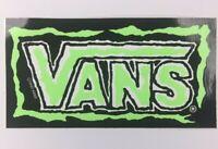 NOS Vintage Vans Logo Skateboard Sticker BMX Surf Original 1990 Neon Green