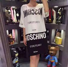 Women's Tee Mos T Shirts Half Sleeve Black White Character Short Dress (Size S)