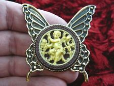 cs54-14) Cherub garden brown + ivory Cameo butterfly Pin Pendant Jewelry brooch