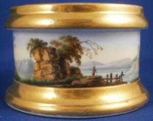 Antique 19thC Popov Russian Scenic Open Salt Dish Porzellan Saliere Popoff Popow