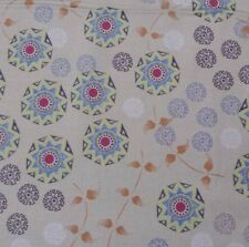 Temple Lotus Dan Bennett BTY Rowan Geometric Floral on Beige