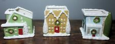 "Nib Partylite ""Village Square"" Tea Light Trio ~ Holiday Design"