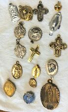 Lot of 17 Vintage Catholic Medals Pendant Charms St. Anthony Virgin St Francis +