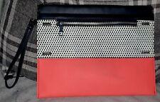 ATMOSPHERE/Black, White & Coral Medium Bag (with strap)