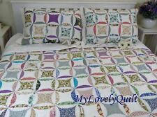 Liz Claiborne Classic Patchwork Hand-Quilted BEDSPREAD 3pc Set Q-Clearance-Flaw