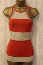 Karen Millen Racer Jersey Stretch Sport TShirt Vest Orange Top Yoga Running UK 8