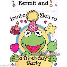 MUPPETS Kermit INVITATIONS (8) ~ Vintage Birthday Party Supplies Stationery Card