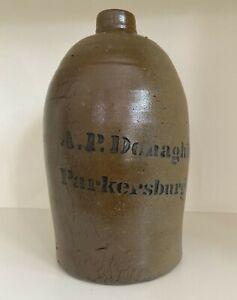 Antique  A. P. Donaghho Stoneware Jug, Parkersburg, W. V.