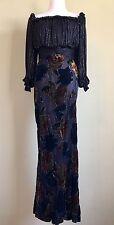 Bob Mackie Vintage Black Beaded Floral Velvet Sheer Gold Lined Gown Size M 8 10