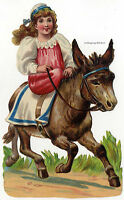 Vintage Edwardian die cut paper scrap, Girl riding on a donkey c. 1930