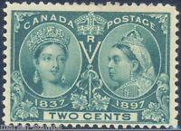 CANADA SC#52 2c JUBILEE MINT HINGED WITH REMNANT