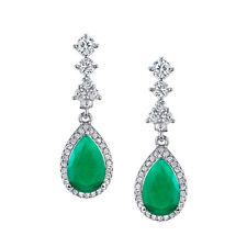 925 Sterling Silver Drop Dangle Pear Shape Emerald CZ Earrings Brides Maid