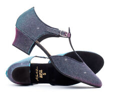 Ladies Girls Multi Glitter Cuban Heel Dance Greek Sandal Ballroom Shoe By Katz