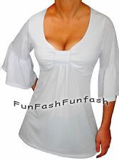 OC3 FUNFASH NEW WHITE TOP EMPIRE WAIST BELL SLEEVES PLUS SIZE TOP SHIRT 2X 22 24