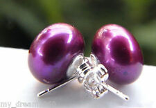 925 Sterling Silver Stud Earrings Genuine 11-12mm Dark Purple Freshwater Pearl