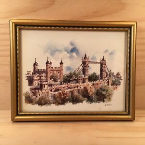 "LONDON BRIDGE ""Gold"" Small Framed Landscape Picture Plaque Decorative Wall Art"