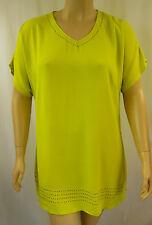 BeMe Citrine Lime Stud Viscose Short Sleeve Tunic Top Plus Size 16 BNWT #H38