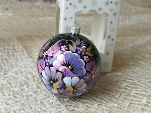 Christmas Ornament hand painted bauble 3.9 in Large tree ball Floral decoration