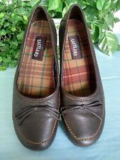 Eastland Women's 8.5M Leather Walking Flats Dark Brown Hand-Stitched Soles