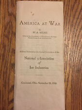Antique Vintage 1918 America At War By W. A. Milne: Wwi Paper Item