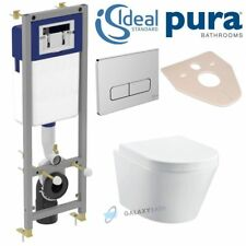 IDEAL STANDARD FRAME + PURA BATHROOMS ARCO RIMLESS WALL HUNG TOILET PAN 5in1 SET