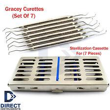 Periodontal Gracey Curettes 7 Pcs Dental Instruments Mesh Tray Cassette Box Kit