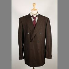Ermenegildo Zegna 44XL Brown Wool Double Breasted Mens Sport Coat Blazer Jacket