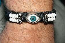 "EVIL BLUE EYE BRACELET Punk Rock Goth BLACK Leather Cuff White Beads 6""-11"" NEW!"