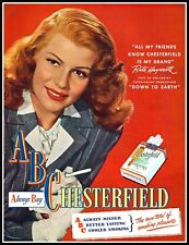 1947 Rita Hayworth Photo Movie Release Chesterfield Cigarettes Print Ad   (ADL3)