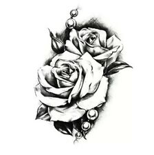 Temporary Tattoo Stickers Waterproof 3D Rose Arm Body Black Arm Sticker