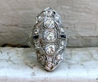 3.30CT Round White Diamond Edwardian Vintage Filigree Art Deco Ring 925 Silver