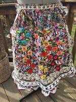 VTg PEASANT FOLK COSTUME APRON EMBROIDered Velvet Cutwork Flowers birds Mexican