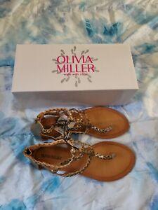 OLIVIA MILLER WOMEN'S SIZE 9 GLADIATOR FLAT SANDAL BRONZE