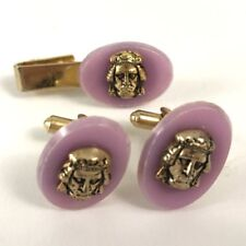 Vintage Set Of Face Cuff Links And Tie Clip No Makers Marks Gold Tone Lilac Pink