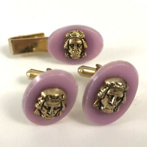 Face Cuff Links And Tie Clip No Makers Marks Gold Tone Lilac Pink Set Vintage