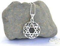 Sterling Silver Jewish chain&pendant Israel Star of David/Magen David.round
