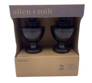Allen + Roth Spiral Urn Finials Espresso Finish 2 Pack 0622936