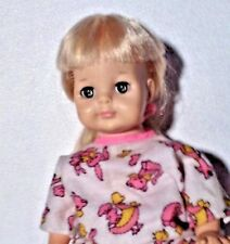 """VINTAGE,DOLL,IN A PRETTY PRINT DRESS 14"""" VINYL,& PLASTIC,YOUNG GIRL,UNMARKED"""