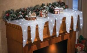 Lighted Snow Icicle Christmas Holiday Mantel Scarf