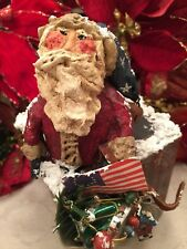 Folk Art Santa In Chimney Paper Mache Patriotic Flag Figurine Christmas Decor CG