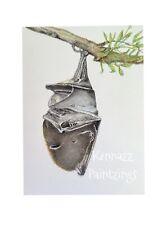 Bat Hanging In A Tree Mammal Animal Original Watercolour Painting By Kenna