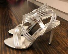 Ralph Lauren Addie Dress Heels Leather Slingback Strappy Silver Sz 6.5 WORN ONCE