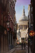 "ORIGINAL HUGH BEATTIE OIL ""Watling St to St Pauls"" london city capital PAINTING"