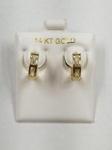 10K Yellow Gold Hugie Hoop Earrings Clear 1 Row Cubic Zirconia