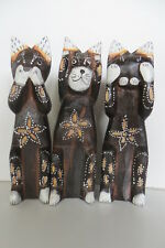 "SET of 3 , 8 "" CATS  SPEAK, SEE & HEAR NO EVIL CAT FIGURINES,WOOD,"