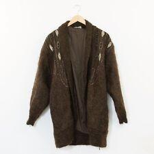 True Vintage 80's Brown Mohair Embellished Long Cocoon Cardigan Medium UK 12 14