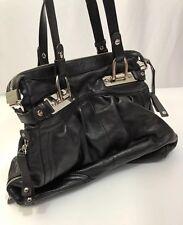 $288 B. Markowsky Black Leather Canterbury Satchel Handbag Silver Accent - Large